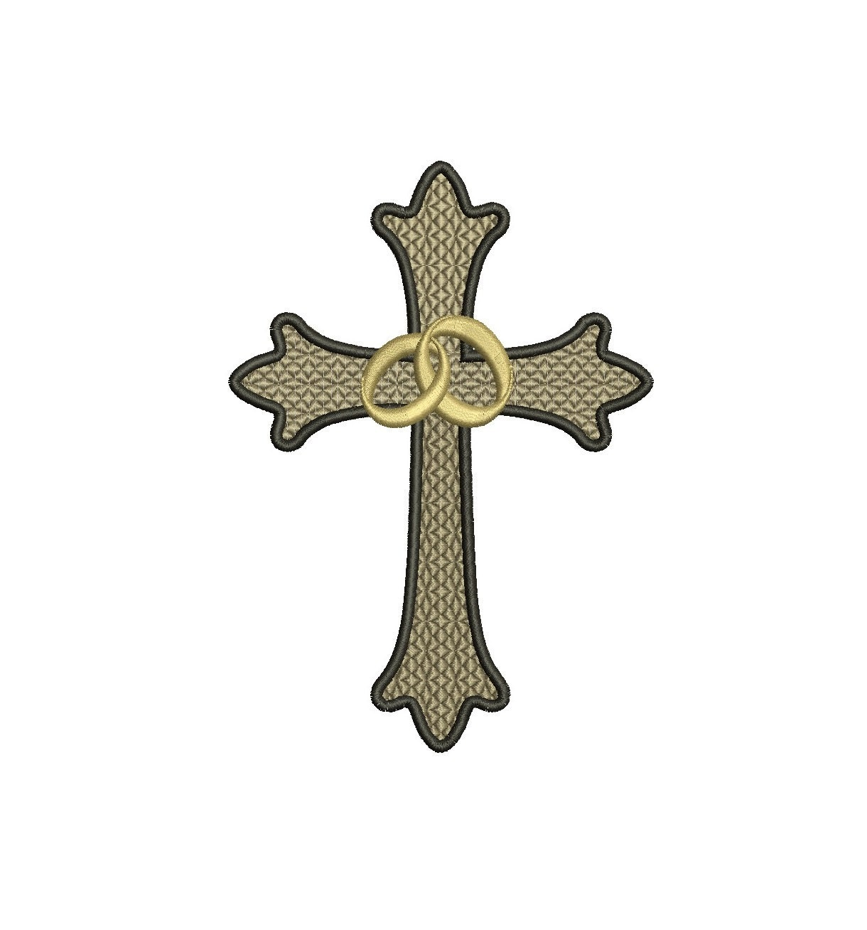 two wedding rings cross filled machine embroidery digitized With wedding rings with crosses