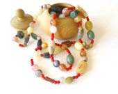 Vintage Necklace - Multicolor necklace - Colorful stone necklace - Natural Stone necklace - Long necklace Valentine's day