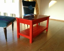 Coffee table with red glass shelf handmade with recycled wood pallets