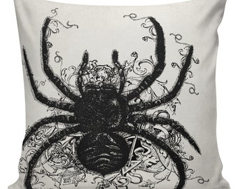 Halloween Pillow Curly Flourish Spider Cushion Pillow Cover cotton canvas #UE0115 throw pillow 18 inch square Urban Elliott