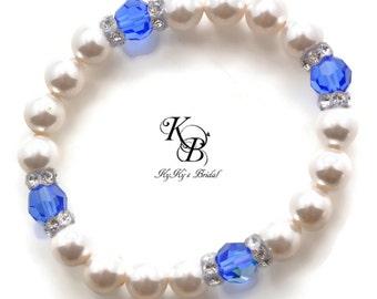 Something Blue Bracelet, Something Blue Jewelry, Bridal Bracelet, Bridal Jewelry, Elastic Bracelet, Wedding Jewelry, Something New, Wedding