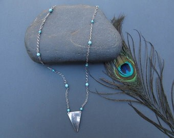 Triangle Necklace, Sterling Silver & Turquoise. Simple Elegance- OOAK