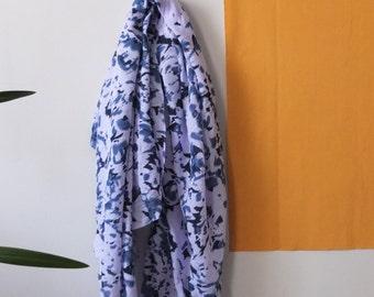 lavender/blue linen/cotton batik hand-dye ethnic print scarf {limited edition}