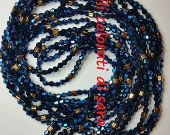 """Long necklace crystal bright blue and gold matto.length 158"""""""