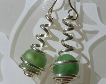 Sterling Silver and Green Amazonite, Wire Spiral Wrapped Caged Dangle Earrings
