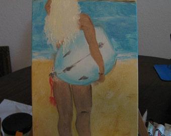 Surfer Girl Oil Painting