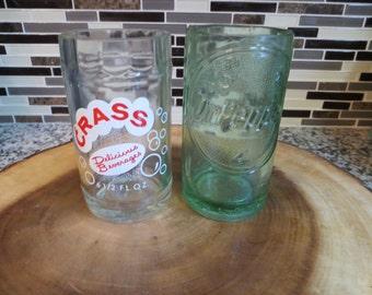 Vintage Crass and Dr Pepper soda bottle juice glasses.