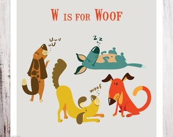 W is for Woof Personalized Art Print