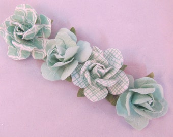 Set of (4) Paper Rose Flower Lapel Pin - Mint Green Collection - Everyday / Weddings / Proms