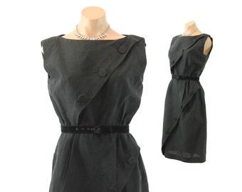 Vintage 60s Wiggle Dress Big Buttons LBD Black Cotton Dress Sleeveless Dress Womens Fashion 1960s Carol Craig Medium M Day Dress