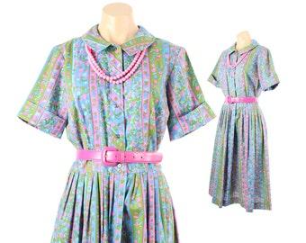 Vintage 60s Sundress Day Dress Short Sleeve Dress Pleated Skirt Multicolored Floral Dress Womens 1960s Medium M Full Skirt