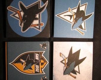 San Jose Sharks tile coasters with cork backing.