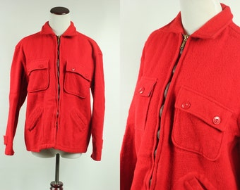 50's Red Wool Zip-up Woodsman Sears Jacket