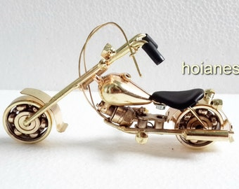 New Hand Carved Metal Art Model Motorcycle HARLEY DAVIDSON - Yellow color