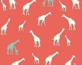 """GIRAFFE KNIT FABRIC - """"Giraffe Fam Coral"""" - Birch Organics Knit Serengeti Collection"""