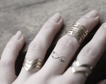 Mini Infinity Temporary Tattoo, Set of 4 Tiny Tattoos, Infinity Finger Tattoo