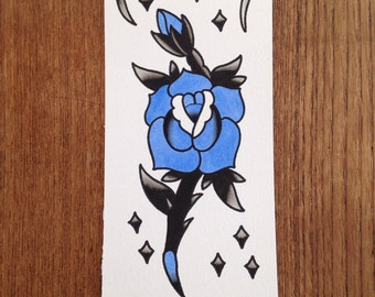 Tattoo painting of a blue rose