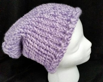 Purple Slouchy Beanie Hat