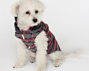 Hunter Red and Gray Plaid Dog Coat