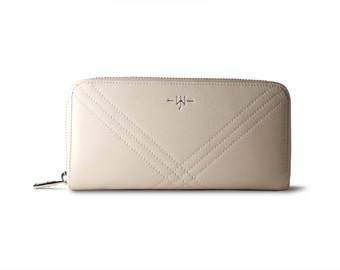 Ladies wallet Eve - Ladies Leather Wallet : Cream and Blue