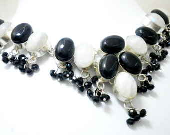 92.5 Silver plated White rainbow and Black onyx Natural stone Beads necklace
