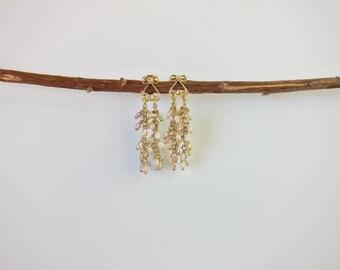 Seed Pearl Cluster 14K Gold Earrings