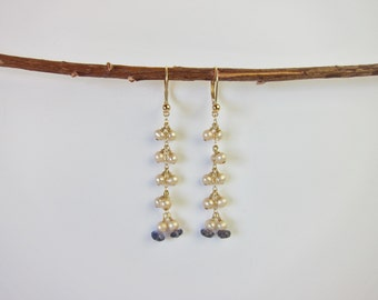 Iolite, Pearl 14K Gold Handmade Earrings
