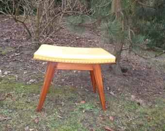 Vintage Yellow Stool Ottoman Footstool Beech Oak Leather or Leather Look Retro