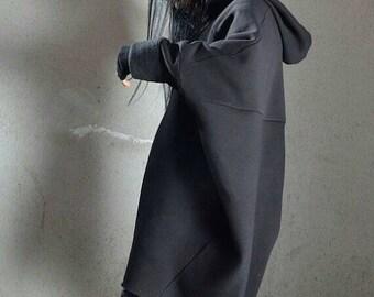 Oversized Maxi Hoodie Sweatshirt Dress - Black Baggy Cape Style Asymmetrical Long Womens Outerwear Top
