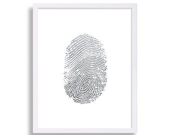 Faux Silver Foil Art Print Thumbprint Hipster Decor Modern Art Pop Art Minimalist Finger Print Art Living Room Art Home Decor Gift for Him