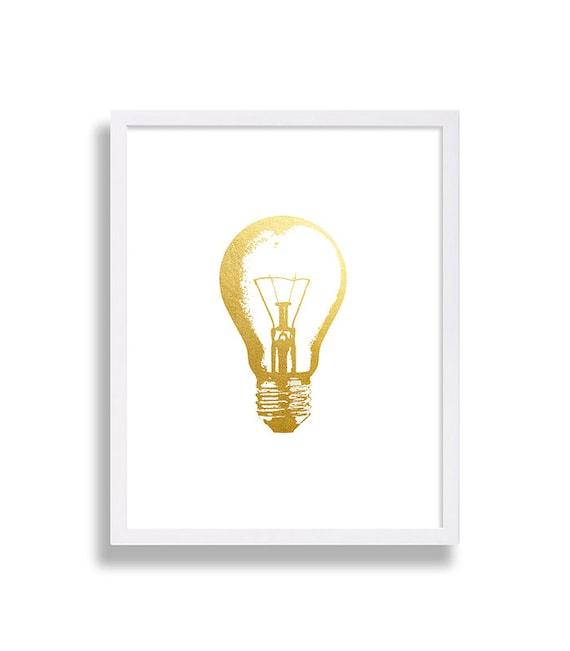 Light Gold Wall Decor : Light bulb wall art faux gold foil poster hipster print