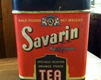 Vintage Savarin Tea Tin