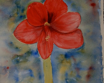 Red Amaryllis, Single Flower, Floral Painting, Original Watercolour, Sale, Inexpensive, Bargain Price Painting, Blue Impression, 12 x 16 ins