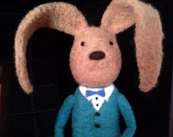 Needlefelted Bunny, Rabbit, hipster rabbit