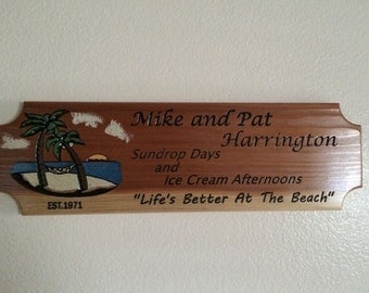 Custom engraved wood sign! Redwood. Beach theme.