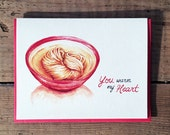 Valentine Card / Valentine's Day Card / Love Card / Romantic Card / Anniversary Card / Heart Shape Noodle Card / You Warm My Heart