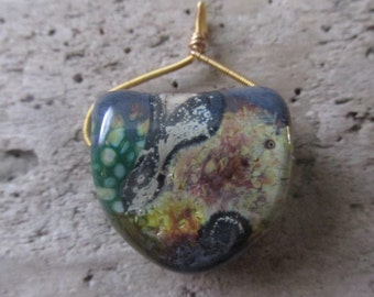 Glass Pendant Earth Tones Swirled Pattern Two Sided
