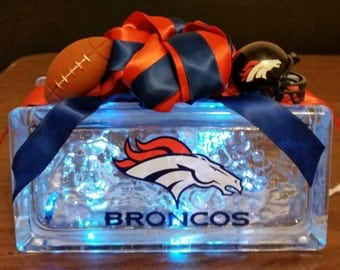 DENVER BRONCOS Lighted Glass Block