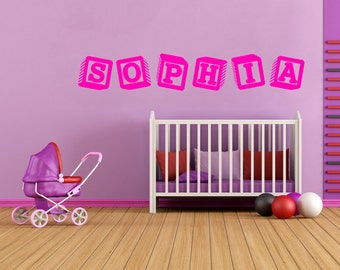Sophia Baby Blocks Girls Name Interior Room Wall Vinyl Decal