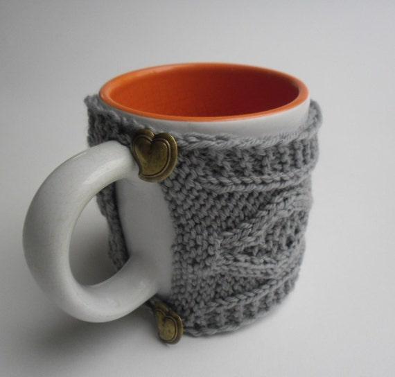 Knitted Mug Warmers Pattern : Knit coffee mug cozy/tea mug warmer cable pattern hand