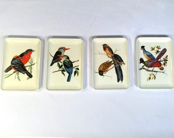 Vintage Bird Tray Platters Set of 4 Decorative Crafts Made in Italy