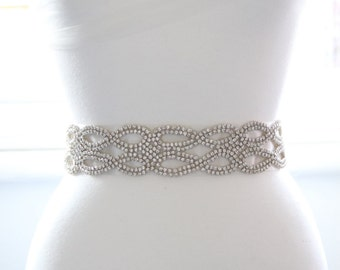 Ivory Crystal Bridal Sash/Belt With Crystal Double Layer Oval Cross