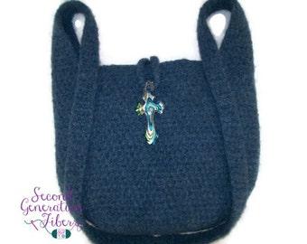 Blue crochet felted purse, blue purse, purse with cross, crochet felted purse, wool purse, wool felted purse, handmade purse, felted purse