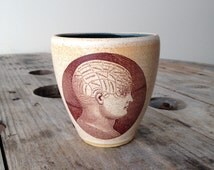 All in My Head Phrenology Wine Cup - stemless wine cup - wheel thrown - ceramic - transfer - decal - transfer image - vintage image transfer