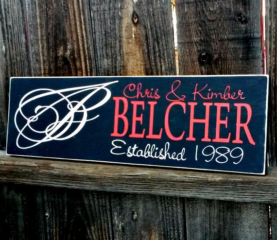 Wedding Gift Name Sign : Wedding gift Family name signs custom wooden sign last name ...