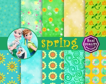 Spring digital papers *  Palette inspired by Disney's Frozen Fever movie  * Instant Download
