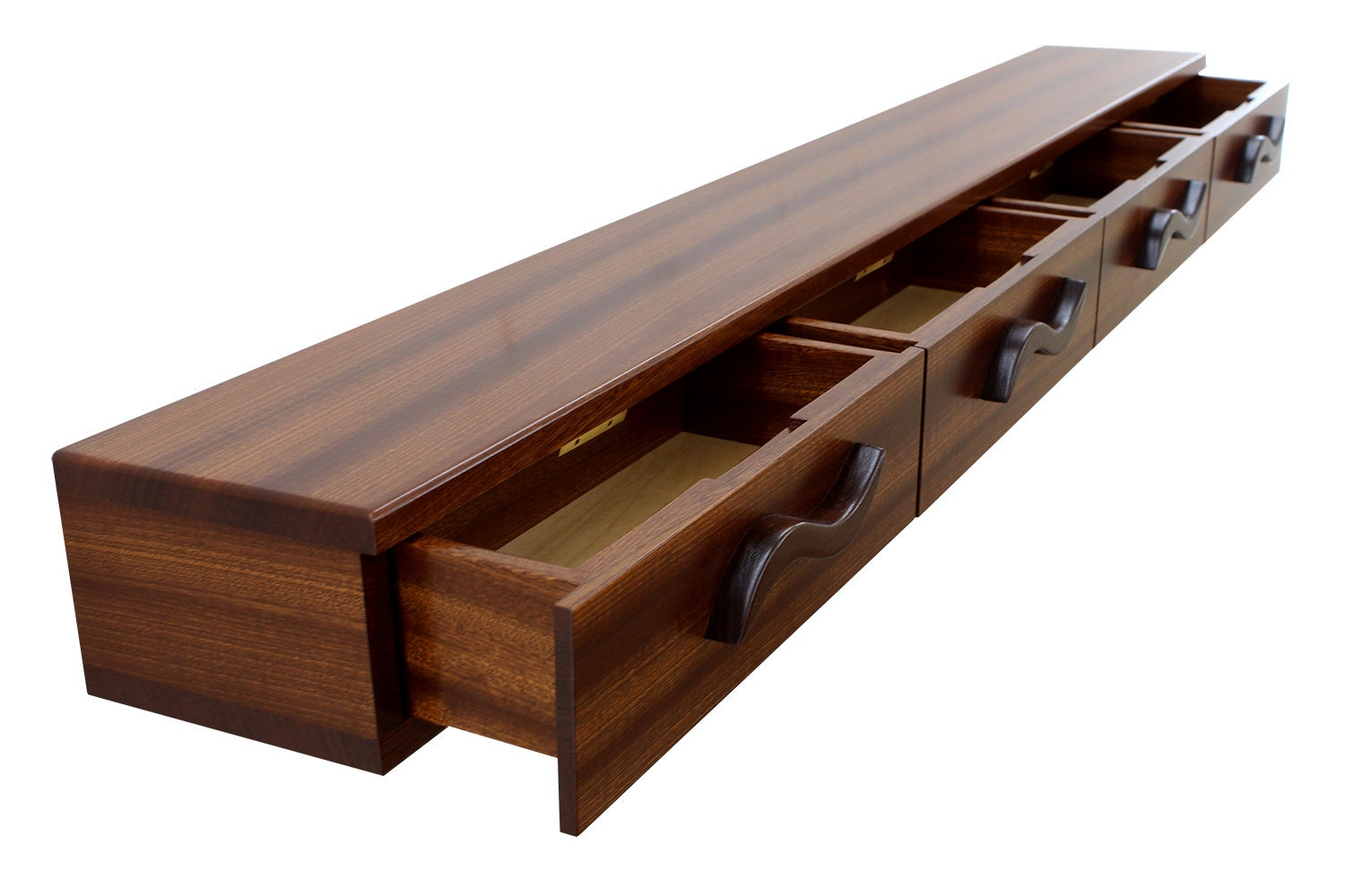 4 drawer floating shelf solid wood carved drawer