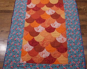 Handmade, Goldfish (Koi) scale and cherry blossom baby, lap quilt, blanket 36 x 46 inches