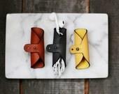 Leather Earphone Holder Organiser Cord Ties Brown, Grey or Yellow