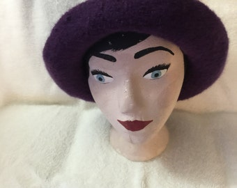 Women's purpie knitted wool felted hat with cord